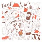 Нарисованный рукой Doodle Lumberjack Freehand комплект элементов Woodworking иллюстрация штока