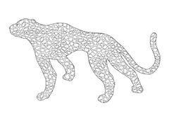 Нарисованный ягуар, леопард, дикий кот, силуэт плана doodle пантеры иллюстрация вектора