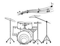 нарисованный bac барабанит белизной иллюстрации руки установленной бесплатная иллюстрация