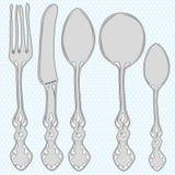 нарисованный cutlery комплект руки Стоковые Фотографии RF