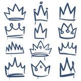 Крона эскиза Нарисованный doodle драгоценности украшения плана коронования роскошного королевского diadem тиары крон короля ферзя иллюстрация вектора
