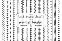 15 нарисованных рукой щеток doodle безшовных Стоковая Фотография
