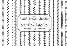 15 нарисованных рукой щеток doodle безшовных Стоковые Изображения RF