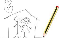 нарисуйте красный цвет карандаша дома к иллюстрация штока