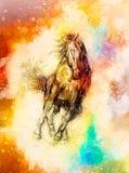 Нарисуйте лошадь карандаша и мягко запачканную предпосылку акварели Стоковые Фото