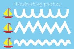 Нарисуйте след кораблей, лист практики почерка, деятельность при детей preschool, воспитательную игру детей, printable рабочее ли иллюстрация вектора
