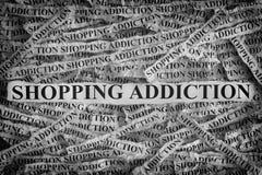 Наркомания покупок Сорванные куски бумаги с ходить по магазинам слов Стоковое Фото