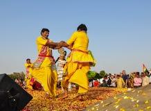 Народный танец в Pushkar, Индии Стоковые Фото