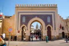 Наружная сторона horseshoe сводов стробирует Bab Boujloud стоковая фотография