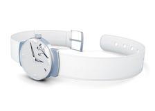 Наручные часы женщин на белой предпосылке 3d представляют цилиндры image Стоковые Фото