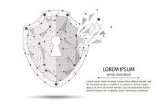 Нарушение безопасности - концепция Infographical Графический дизайн на теме технологии Кибер-безопасностью Стоковое Фото