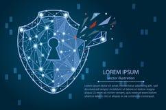 Нарушение безопасности - концепция Infographical Графический дизайн на теме технологии Кибер-безопасностью иллюстрация штока