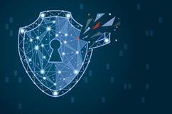 Нарушение безопасности - концепция Infographical Графический дизайн на теме технологии Кибер-безопасностью Стоковое Изображение
