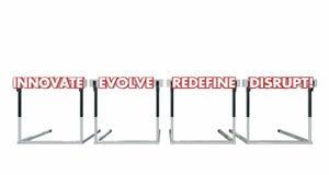 Нарушьте скакать над барьерами возможность Innovate эволюционирует Redefine Стоковое Изображение RF
