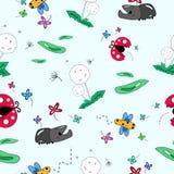 Насекомое в картине цветочного сада безшовной, милое животное собрание мультфильма, вектор предпосылки травы одуванчика абстрактн иллюстрация вектора