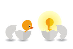 Насиженные цыпленок и электрическая лампочка Стоковое Изображение RF