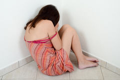 Насилие в семье против женщины Стоковая Фотография RF