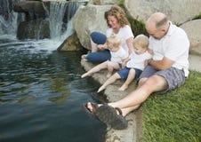 насладитесь детенышами воды близнецов парка семьи стоковые фото