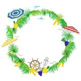 Насладитесь летним отпуском - белой предпосылкой с тропическими листьями и космосом для текста, иллюстрации вектора иллюстрация вектора