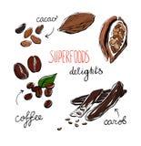 Наслаждение superfoods Doodle Иллюстрация штока