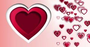 Наслоенные сердца валентинок Стоковое Изображение