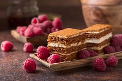 Наслоенный торт меда с сливк и полениками стоковое фото rf