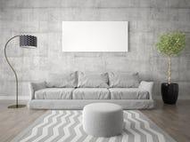 Насмешка вверх по модной живущей комнате со стильными формами стоковое фото rf