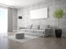 Насмешка вверх по просторной живущей комнате со стильной современной софой стоковые фотографии rf