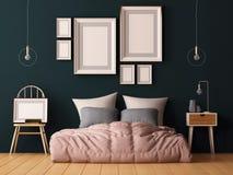 Насмешка вверх по плакатам в интерьере спальни Внутренний стиль битника 3D перевод, иллюстрация 3D иллюстрация штока