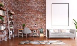 Насмешка вверх по рамке в дизайне домашнего офиса, современной комнате места для работы стоковое изображение rf