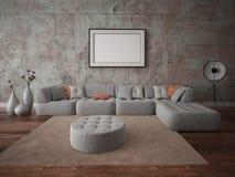 Насмешка вверх по современной живущей комнате с большой угловой софой стоковое фото rf