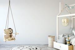 Насмешка вверх по стене в интерьере комнаты ребенка Внутренний скандинавский стиль 3D перевод, иллюстрация 3D иллюстрация штока