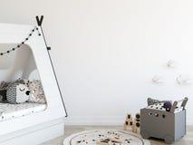 Насмешка вверх по стене в интерьере комнаты ребенка Внутренний скандинавский стиль 3D перевод, иллюстрация 3D бесплатная иллюстрация