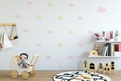 Насмешка вверх по стене в интерьере комнаты ребенка Внутренний скандинавский стиль 3D перевод, иллюстрация 3D иллюстрация вектора