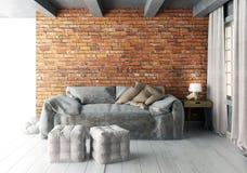 Насмешка вверх по стене в интерьере с софой стиль битника живущей комнаты Стоковое Изображение