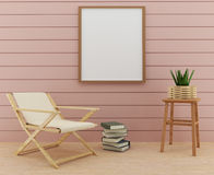 Насмешка вверх по фото рамки с дизайном стула и украшению таблицы в переводе 3D иллюстрация штока
