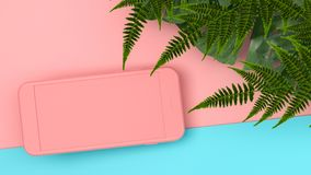 Насмешка вверх по smartphone цвета на тропической предпосылке перевод 3d 3d Стоковое Изображение
