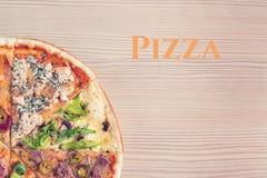 Насмешка вверх с космосом экземпляра для текста итальянская пицца Стоковая Фотография RF