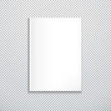 Насмешка вектора белая пустая вверх по вертикальной бумажной крышке закрытого журнала, буклета, иллюстрации брошюры реалистическо иллюстрация вектора