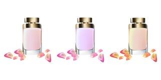 Насмешка вектора пакета косметик дух реалистическая вверх Бутылка совершенная для рекламировать, рогулька Eau de toillete золотая Стоковая Фотография