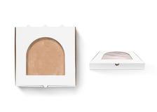 Насмешка дизайна коробки пиццы вверх при изолированное окно фольги Стоковое фото RF