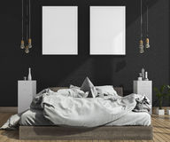 насмешка перевода 3d вверх на черной спальне кирпичной стены с оформлением просторной квартиры Стоковая Фотография RF