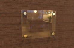 Насмешка плиты Signage пустого прозрачного стеклянного внутреннего офиса корпоративная вверх по шаблону, иллюстрации 3D Стоковое фото RF
