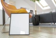 Насмешка рамки фото ВВЕРХ в современном интерьере Стоковые Фото