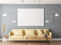 Насмешливый поднимающий вверх плакат в скандинавской предпосылке комнаты прожития хипстера стоковые фотографии rf