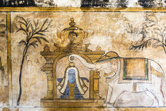 Настенная роспись внутри виска Brihadishwara в Tanjore - Индии Стоковые Изображения