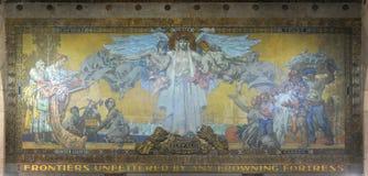 Настенная роспись в здание муниципалитете буйвола, Нью-Йорке, США стоковое изображение