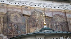 Настенная роспись в соборе christ спаситель, Иркутск, Российская Федерация стоковое фото
