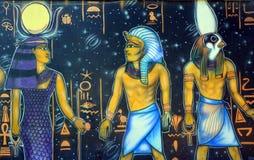 Настенная роспись египетских богов Стоковые Изображения