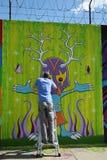 Настенная роспись картины художника улицы на суде Веллингтона в Astoria Стоковое Фото